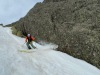 Simone skiing corn snow on Corsica.
