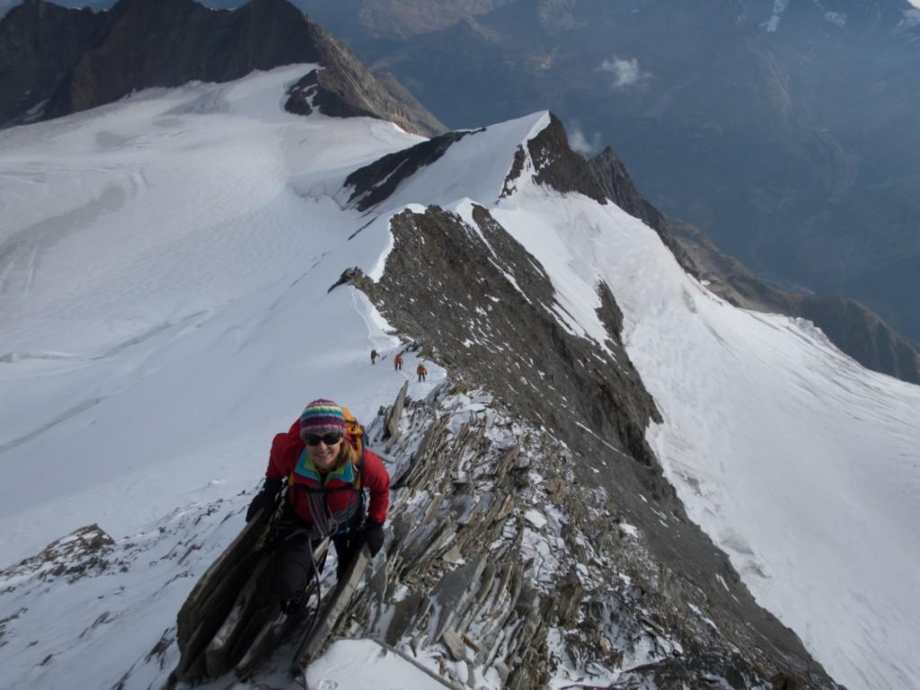 Fiona near the summit of the Nadelhron