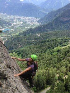 Fiona rock climbing above the Rhone